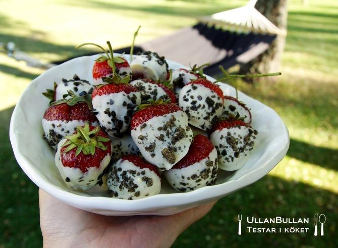 Chokladdoppade jordgubbar Vit choklad Turkisk peppar